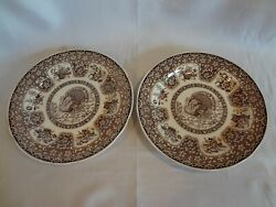 Spode China - Festival Brown - Pair Of Dinner Plates