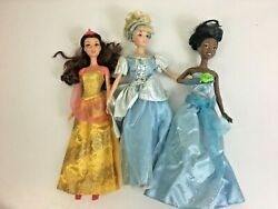 Lot 3 Disney Princess Beauty And The Beast Belle Cinderella Tiana And The Frog