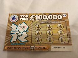 2012 London Olympics Limited Edition Uk National Lottery Scratch-card Very Rare