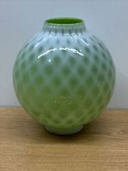 Vintage Antique Glass Ball Globe Shade Chimney- Fitter 2.25 Green Opalescent
