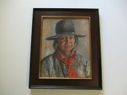 Antique Oil Painting 20 Native American Indian Portrait Rare Woman Artist Tribe