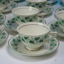Royal Doulton China - Coventry Green Leaves - 11 Tea Cups And Saucers