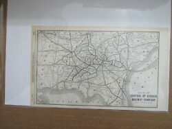 Original Vintage Map Of Central Of Georgia Railway Company And Connections 1904