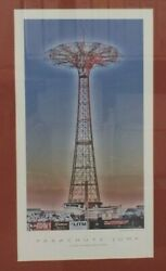 Vintage 2010 Coney Island Parachute Jump Ride Framed Art Print By Rocco Marcelli