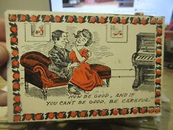 Victorian Era Ohio Old Antique Postcard Mansfield Loveseat Fainting Couch Piano