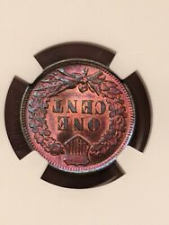 1900 One Cent With A Beautiful Toning To It Ngc Graded At A Ms 63 Red Brown