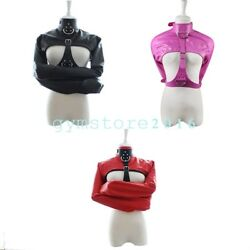 Sexy Women Pu Leather Body Harness Cupless Straight Jacket Costume Clubewear Sm