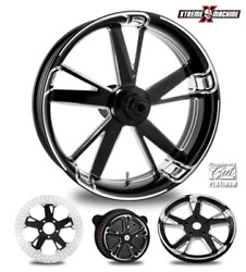 Charger Contrast Cut Platinum 23 Front Wheel And Tire Package 08-19 Bagger