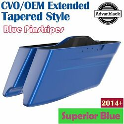Superior Blue Cvo Tapered Stretched Saddlebags Pinstripes For Harley Touring 14+