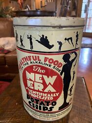 New Era Potato Chip Can Tin Vintage 1950 Graphic Advertising Athletic Chicago