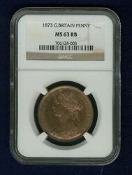 Great Britain Victoria 1873 1 Penny, Choice Uncirculated, Certified Ngc Ms63rb