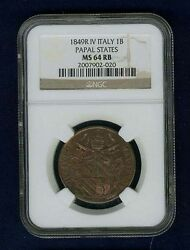Italy Papal States 1849-r Yr. Iv Baiocco Coin, Uncirculated Certified Ngc Ms64