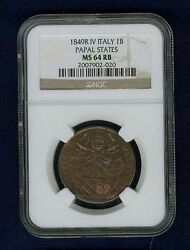 Italy Papal States 1849-r Yr. Iv Baiocco Coin Uncirculated Certified Ngc Ms64