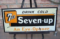 Vintage 1940and039s Embossed 7up - An Eye Opener Advertising Sign - Rare