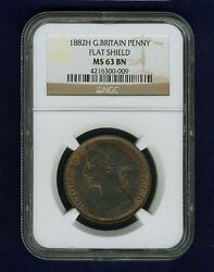 Great Britain Victoria 1882-h Penny, Choice Uncirculated, Certified Ngc Ms63-bn