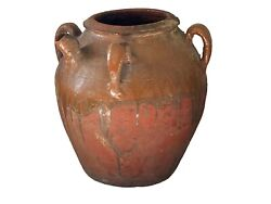 Old Asian Chinese Earthenware Pottery Storage Jar 12.5 H