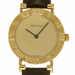 Ginza Store Atlas Round Women And039s Wristwatch L0630 K18 Yellow Gold Dial