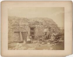 Farmer And Family W/ Stone And Sod-roofed Countryside House Mounted Albumen Photo