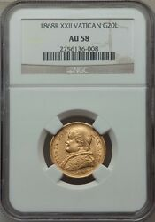 Italy Papal States 1868 20 Lire Gold Coin Almost Uncirculated Certified Ngc Au58