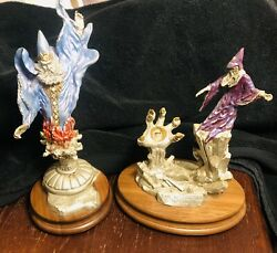 2 Vtg Pewter Wizard Peter C Sedlow 90s Masterworks Fine Pewter Limited Editions