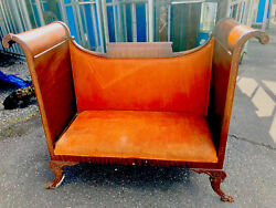 Antique Duncan Phyfe Settee Bench Sleigh Mahogany Curved Tall Clawfeet Ornate