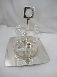 Sterling Silver Salt And Pepper Shaker Condiments On Tray