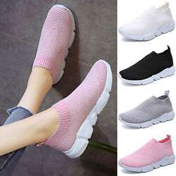 Ladies Casual Sneakers Sports Tennis Mesh Breathable Slip On Comfy Shoes Running