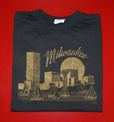 Vintage 1989 Milwaukee City T-shirt Black W/ Gold Foil 80s 90s Usa Deadstock Lg