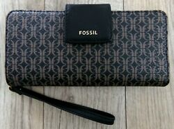 NWT NEW FOSSIL MADISON ZIP CLUTCH WRISTLET WALLET BLACK BROWN $78.00 $19.75