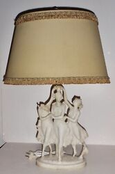 Vintage- 1930and039s Italian Three Graces Marble Table Lamp Original Socket And Shade