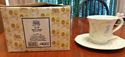 Enesco Precious Moments Birthday Month March Tea Cup And Saucer 1994