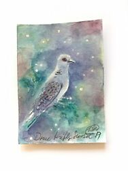 Aceo Original Painting Dove Art Bird Collectible Listed By Artist Artettina Usa