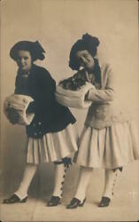 Rppc Two Girls With Fancy Hats,coats,and Muffs Real Photo Post Card Vintage