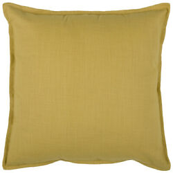 20 In. X 20 In. Yellow Decorative Pillow With Self Flange Detail