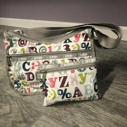 NWOT Lesportsac White Letter Shoulder and Cosmetic Bags $18.00