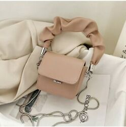 Draped Handle Solid Color Mini Crossbody Bags With Chain $35.00