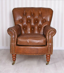 Art Deco Lounge Armchair Genuine Leather Wooden Frame Chesterfield Style Chair