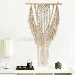 Beige Macrame Wall Hanging Woven Decor Handmade Textile Chic Room Hom