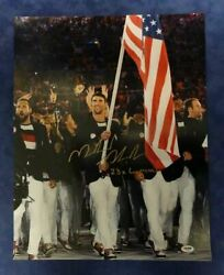 Michael Phelps 23x Gold Medals Autograph 16x20 Photo Holding Flag Psa/dna Auth