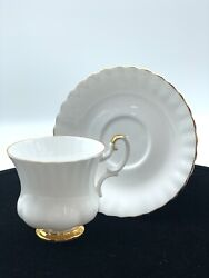 Royal Albert Val Dand039or Cup And Saucer Bone China England White W/gold Trim