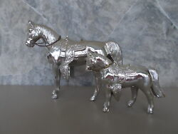 Lot 2 Vintage Silver Colored Pot Metal Western Horse Figurines Carnival Prize