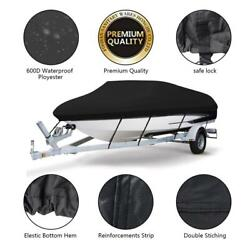 17-19ft V-hull 600d Oxford Fabric Waterproof Speedboat Boat Cover W/ Storage Bag