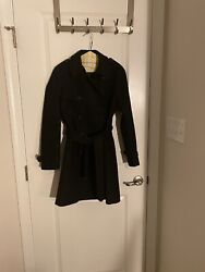 J.crew Icon Trench Coat In Italian Wool Cashmere Black Size 00 365 - Tailored
