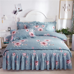Brushed Quilted Bed Skirt Four-piece Suit Korean Ruffled Princess Pastoral Style