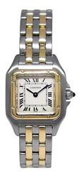 Ladies Panthere 18k Yg And Steel 2 Row Small Silver Dial Quartz Watch 1120