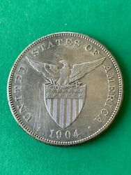 Us Philippines One Peso 1904-s Better Date And High Grade 619