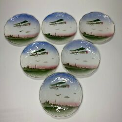 Rare Ceramic Airbrushed Wright Brothers Airplane 6pc Art Deco Art Nouveau Plates