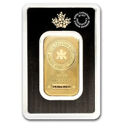 1 Oz .9999 Fine Gold Bar - Royal Canadian Mint Rcm In Assay Card - In Stock