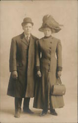 Couple Rppc A Man And A Woman In Coats And Hats Real Photo Post Card Vintage
