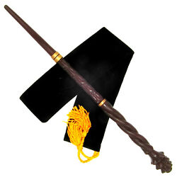 16 Hand Carved Mahogany Wood Mad-eye Magic Wand Wizard Witch Wicca W/velvet Bag